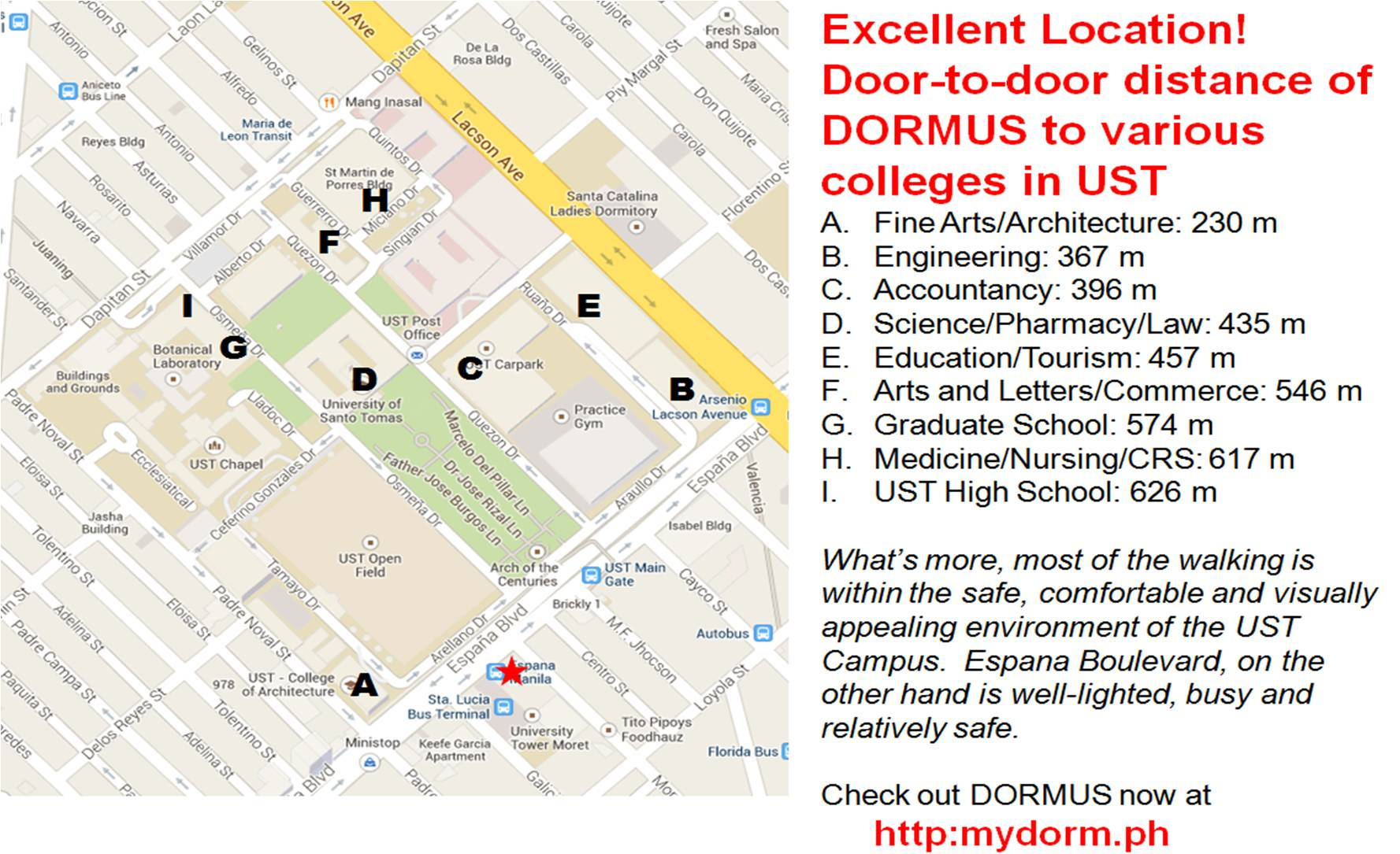 Just Got Accepted At UST Then DORMUS Is For You - Location map ust